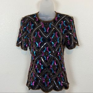 Vintage Adrianna Papell Silk Beaded Sequin Top SM
